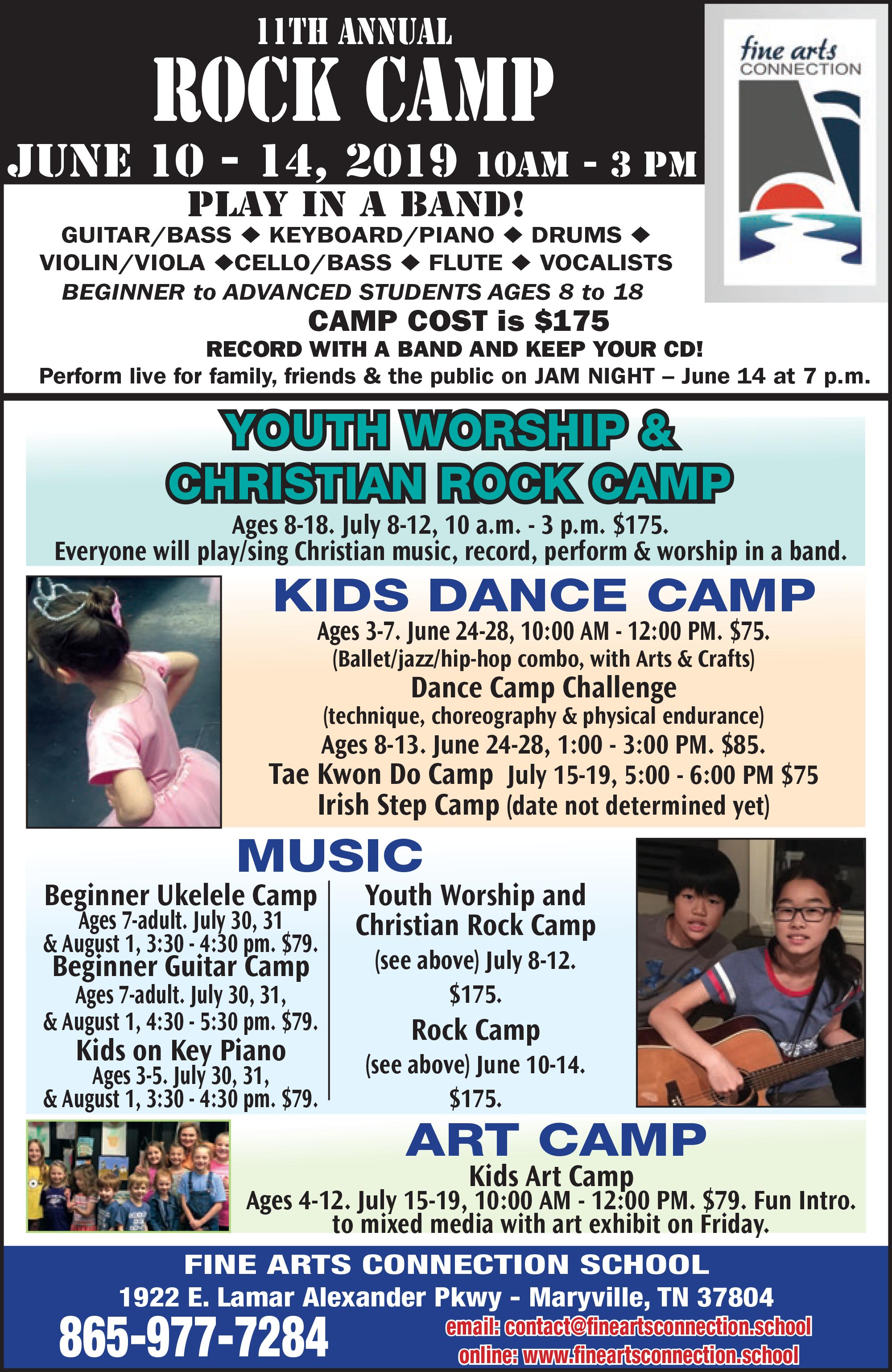 Fine Arts Connection Summer Camps 2019